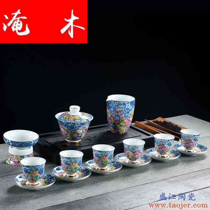 淹木白瓷盖碗功夫茶具套装 高档浮雕描金三才碗茶器茶具陶瓷茶杯l