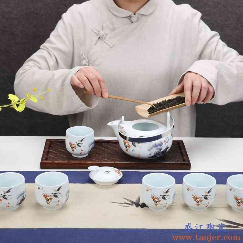 巧慕景德镇青花陶瓷大容量花茶功夫茶具套装饭店会所大号凉水壶提
