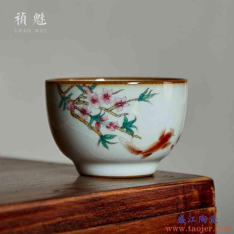 祯魅手绘汝窑开片茶杯 景德镇陶瓷功夫茶具品茗杯可养主人杯单杯