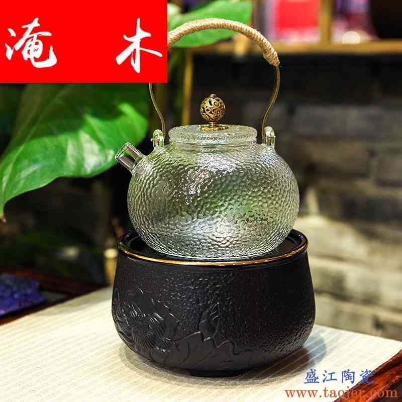 淹木茗品居 日式手工锤纹玻璃壶茶壶 烧水壶耐热电陶炉专用提梁壶