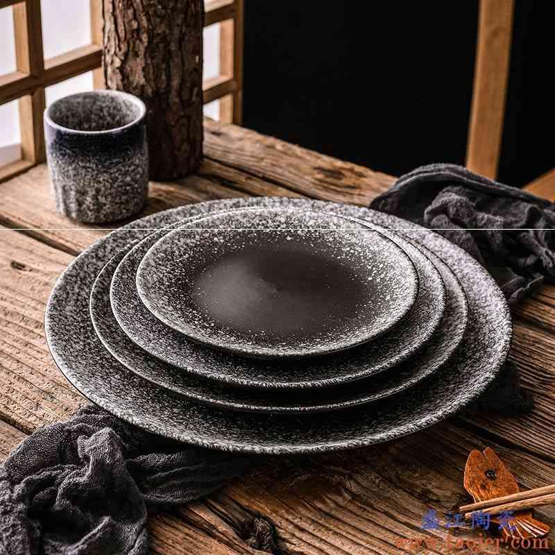 日式菜盘个性陶瓷复古餐具和风浅盘子圆盘家用餐具牛排盘创意