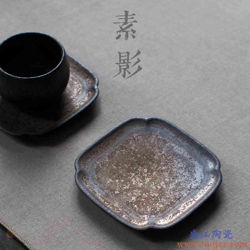 巧慕 粗陶手工杯垫鎏金复古茶杯垫子圆形防滑隔热垫功夫茶具配件