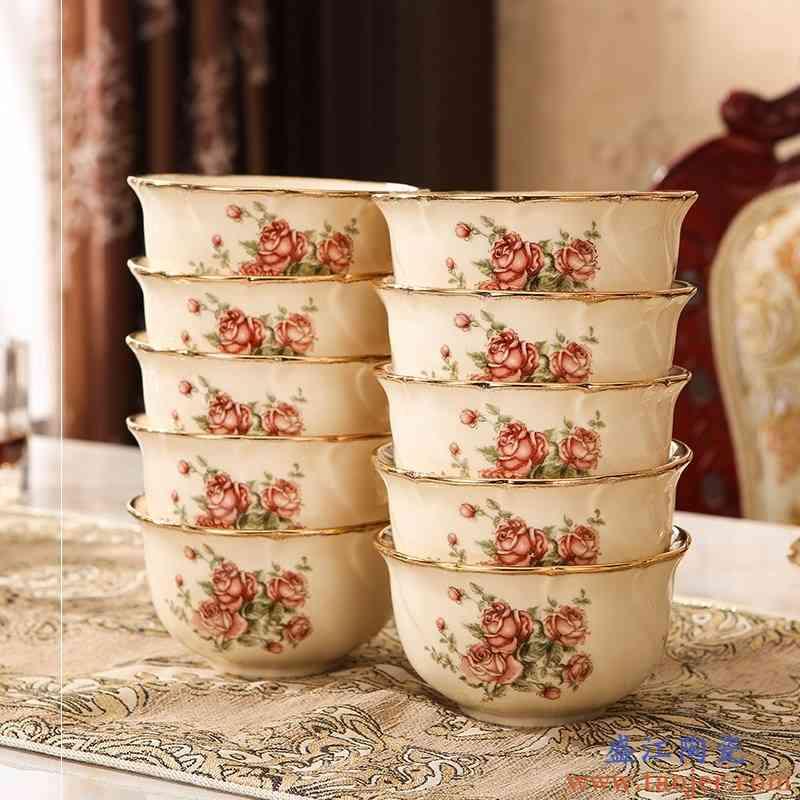 欧式陶瓷碗米饭碗盘黄金镶边餐具家用吃饭碗碗筷碗碟组合套装高档
