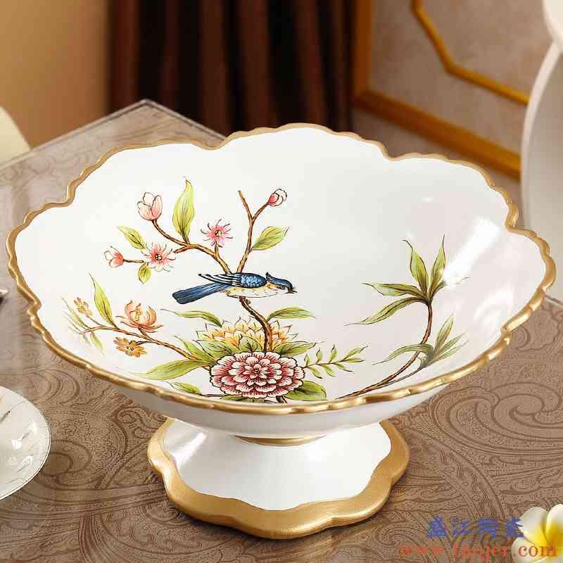 欧式水果盘客厅家用茶几大号陶瓷美式果盘套装创意实用装饰摆设