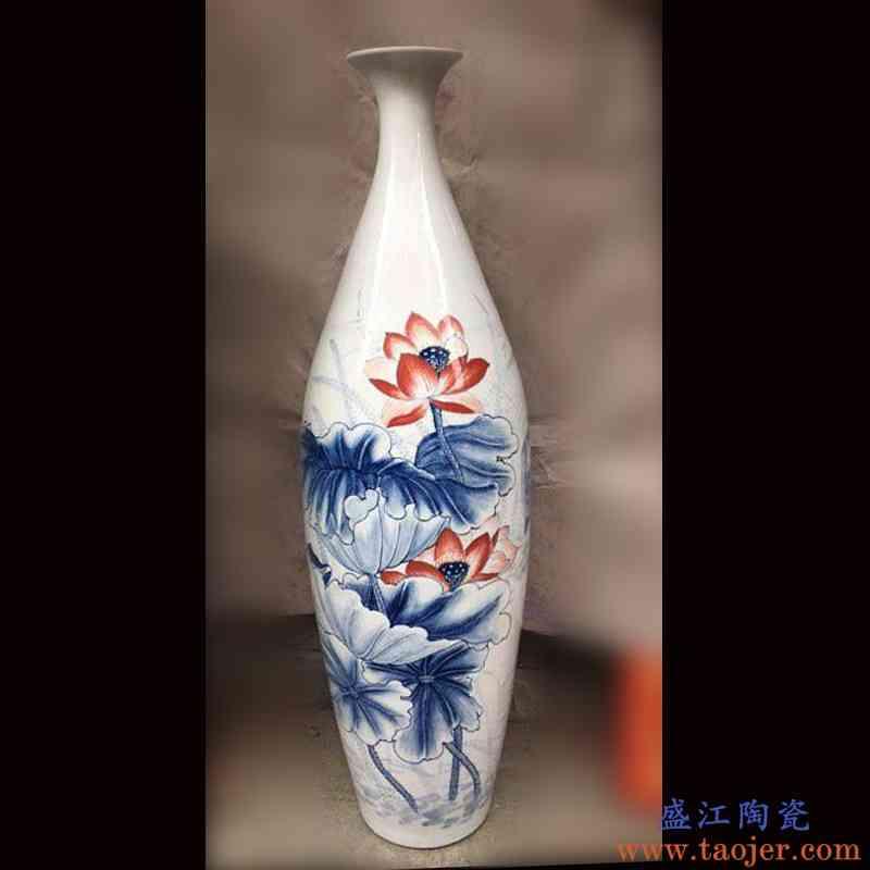 景德镇手绘青花荷花花鸟80-90CM高 曲线优美玄关装饰客厅花瓶