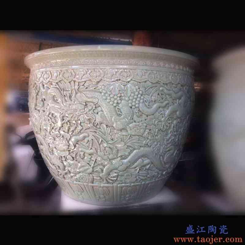 景德镇纯手工雕刻龙纹 荷花大缸 120cm大缸