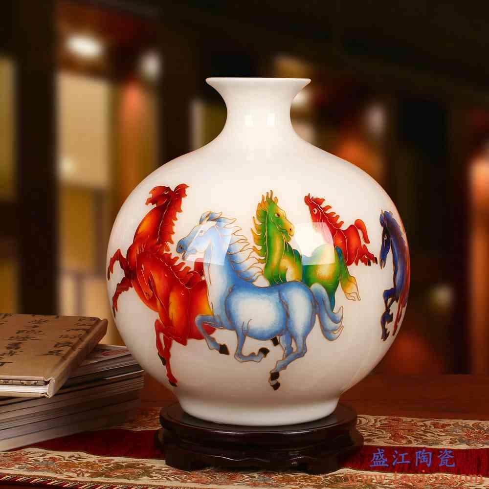 景德镇陶瓷器花瓶 金丝麦秆马到成功花瓶 现代高档中式家居摆件设