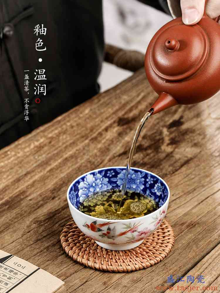 纯手工水点桃花主人杯单杯景德镇手绘青花功夫茶杯品茗杯单个茶具