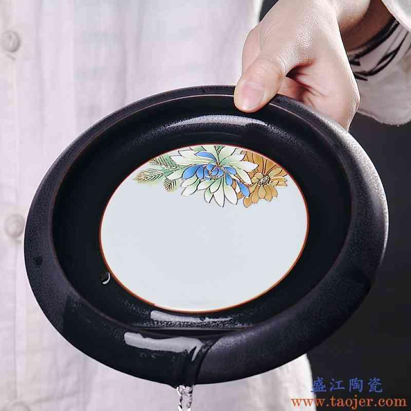 巧慕 陶瓷功夫茶具零配件壶承 窑变立体趴花垫壶托日式干泡台茶道