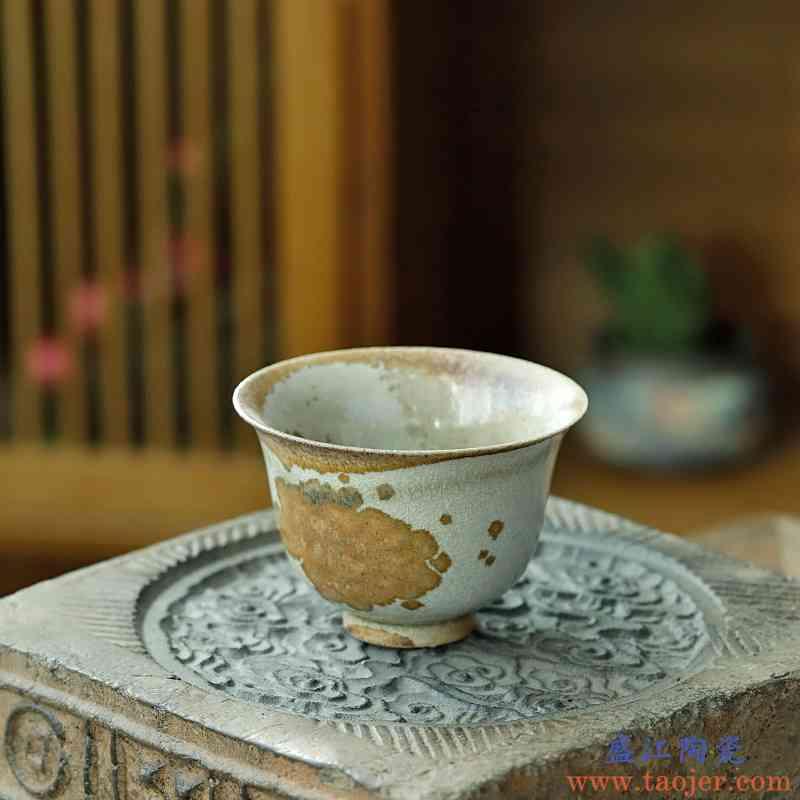 【孤品手作】纯手工景德镇窑变茶杯单只柴烧杯主人杯可养品茗杯子