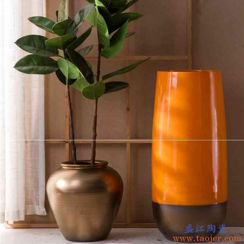 客厅金橙色落地大花瓶摆件美式插花种植陶罐现代简约酒店大堂花钵