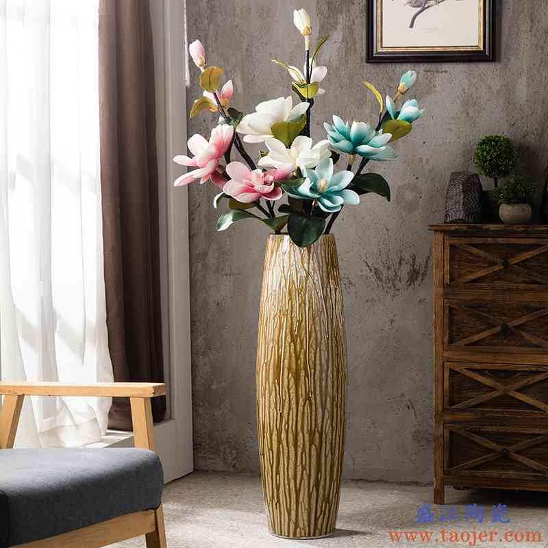 美式落地花瓶大号现代客厅陶瓷装饰插花干花摆件沙发旁玄关复古大