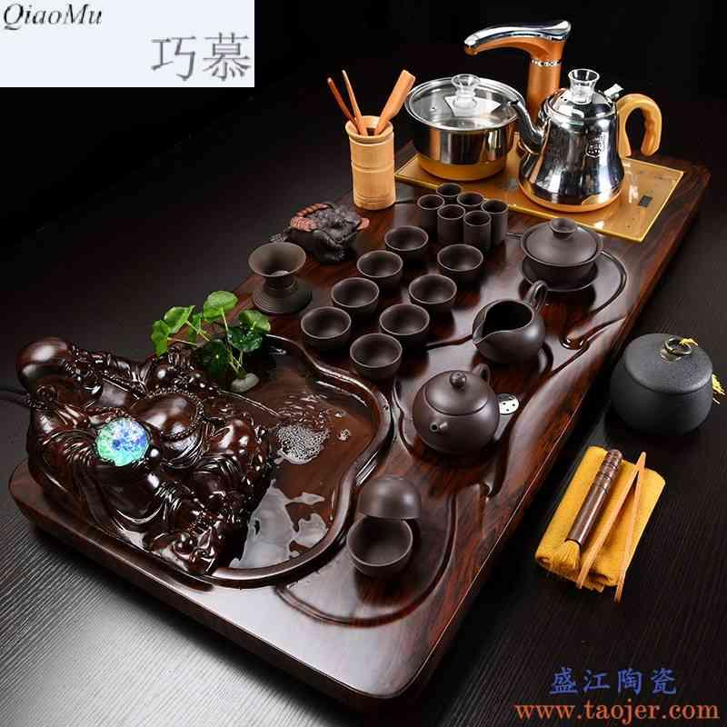 巧慕茶具套装陶瓷家用功夫茶茶道流水雾化茶盘简约茶艺全自动实木