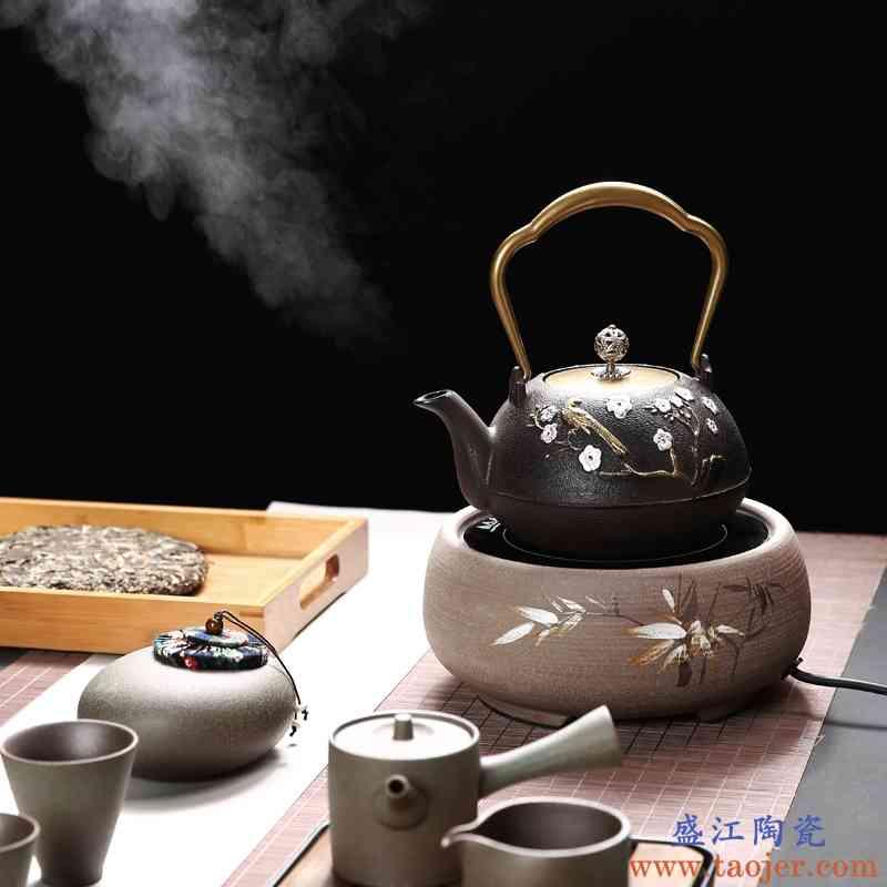 巧慕铁壶铸铁茶壶泡茶烧水壶煮茶壶电陶炉煮茶器冲茶器自动提梁大