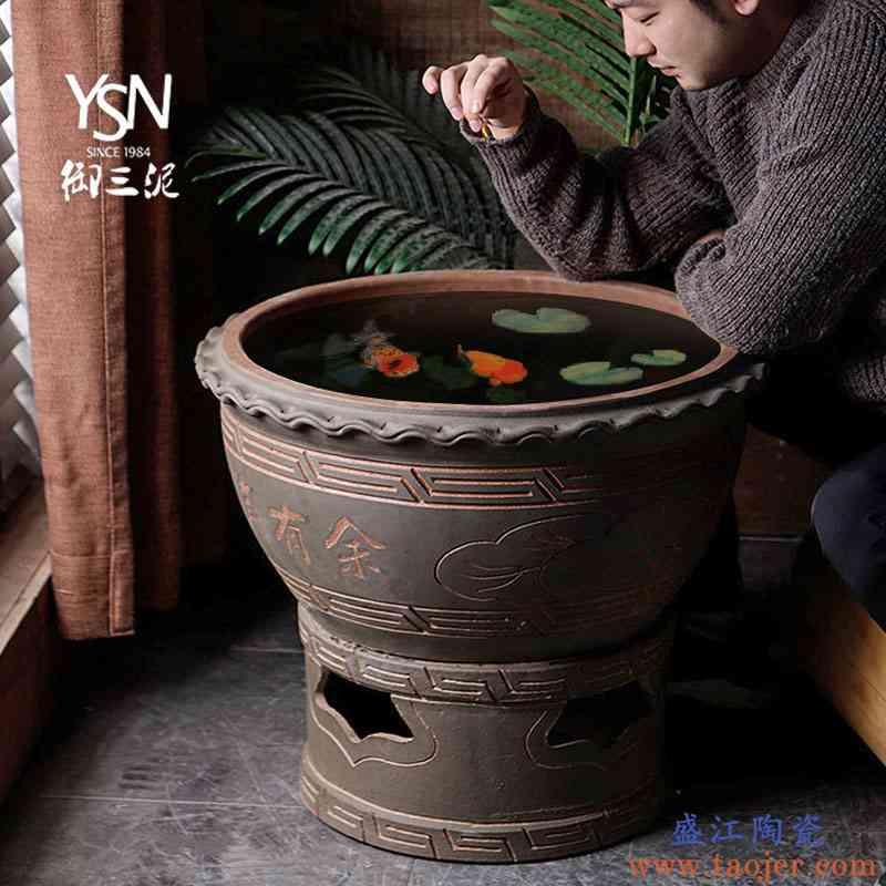 景德镇土陶粗陶古法养鱼陶瓷大缸鱼缸乌龟睡莲缸雕刻水缸金鱼小缸