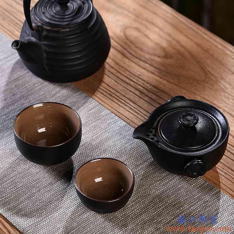 辉仕便携式陶瓷旅行茶具套装一壶二杯陶瓷快客杯户外随身功夫茶壶