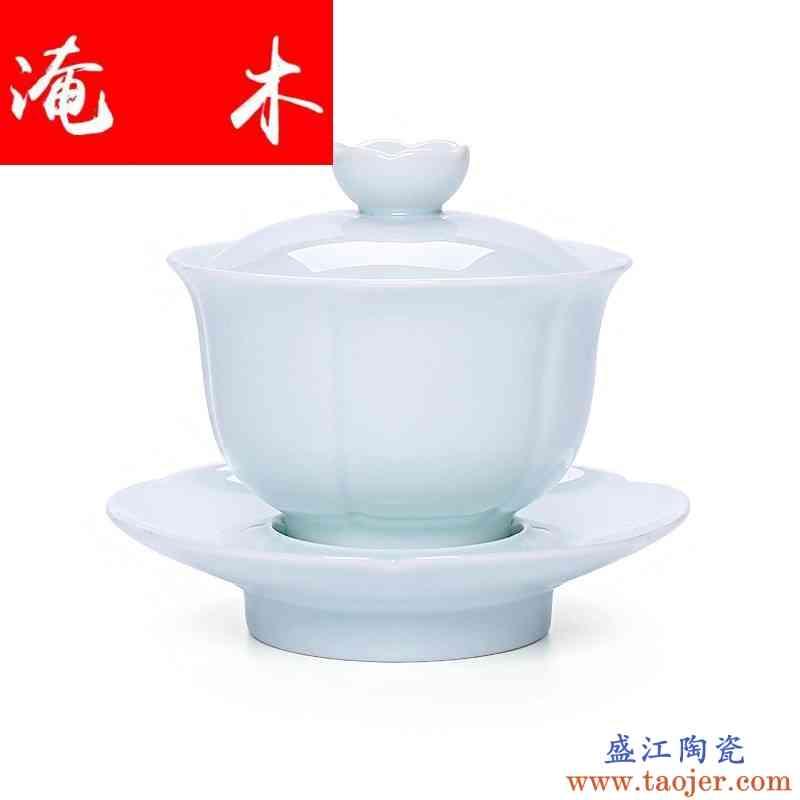 淹木手工玉瓷盖碗大号陶瓷三才盖碗景德镇茶具影青功夫茶壶茶碗