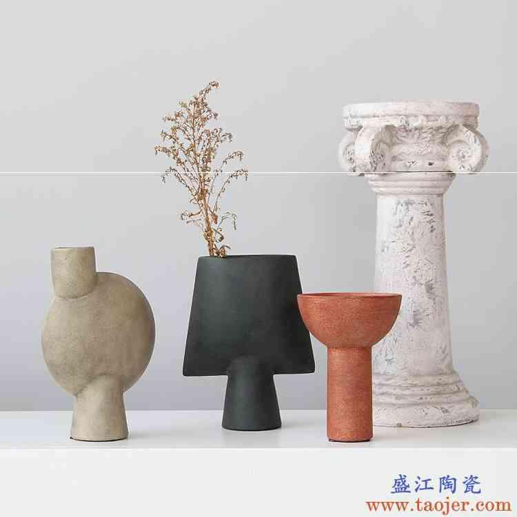 侘寂风纯手工陶艺抽象几何花器 摆件花瓶饰品现代艺术 民宿样板房
