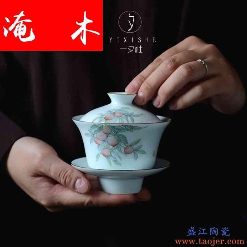 淹木景德镇手绘三才盖碗茶杯纯手工影青瓷陶瓷泡茶防烫粉彩茶具