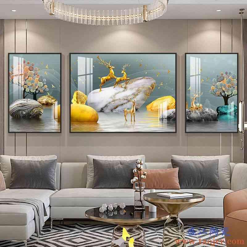 轻奢壁画北欧餐厅麋鹿客厅装饰画现代挂画晶瓷画沙发背景墙三联画