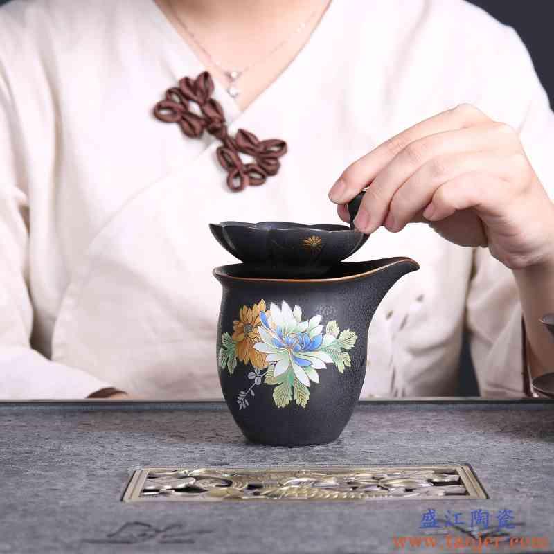 巧慕 陶瓷整套功夫茶具立体趴花面黑陶茶具套装天目侧把壶茶道