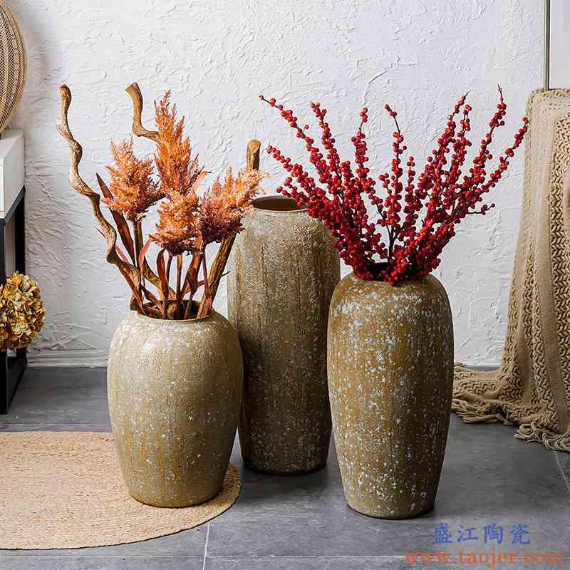 新中式复古粗陶地中海东南亚风花瓶陶罐摆件大型花器花盆装饰品