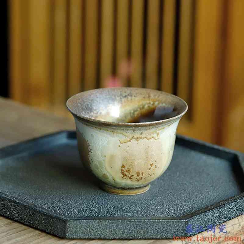 【孤品手作】景德镇窑变裸烧主人杯单个纯手工个人专用柴烧品茗杯