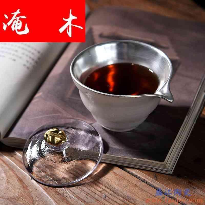 淹木家居 玻璃盖碗大号加厚耐热功夫茶具 陶瓷家用防烫鎏银茶碗