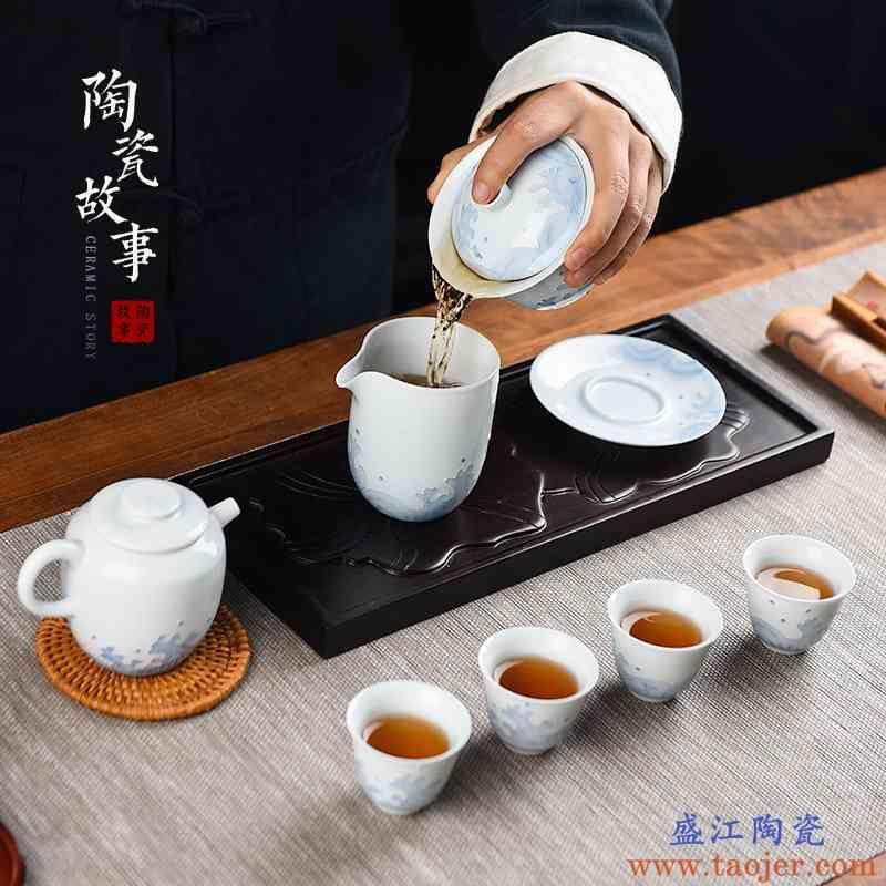 陶瓷故事白瓷功夫茶具套装家用现代简约高档海浪盖碗茶杯泡茶壶