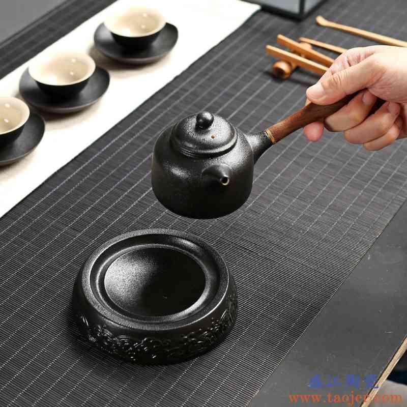 巧慕壶承茶壶托粗陶干泡盘储水陶瓷仿古养壶垫托盘圆形功夫茶具茶