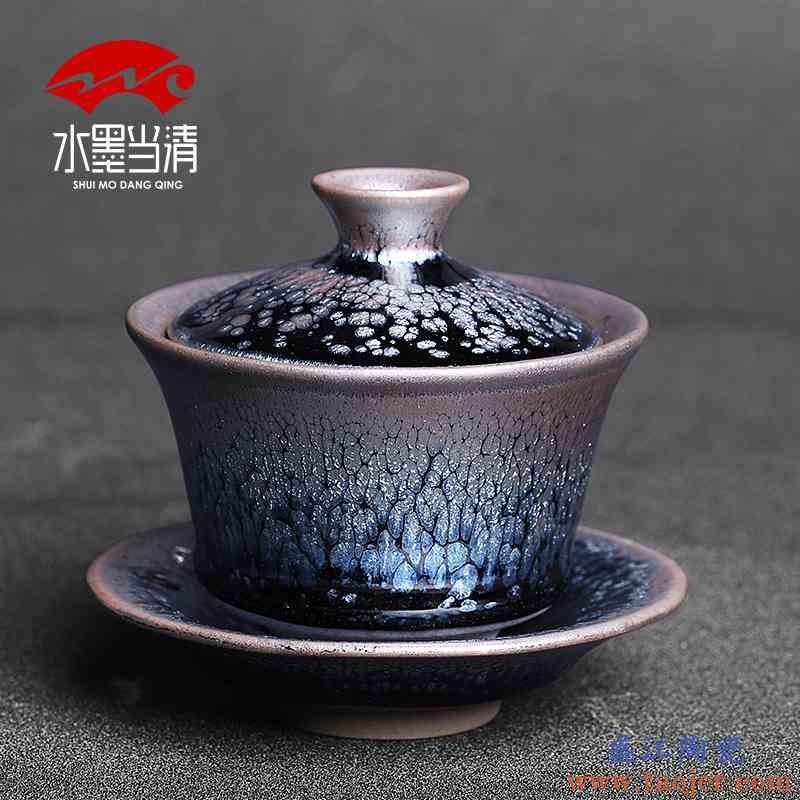 建盏八宝盖碗茶杯泡茶碗大号复古旧三才杯单个不烫手功夫茶具陶瓷