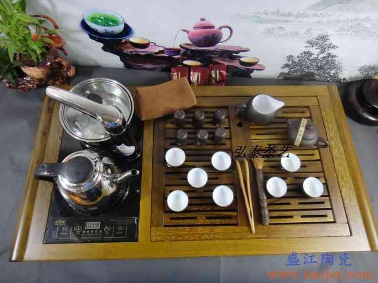 巧慕茶盘黑檀木茶盘鸡翅整块木实木茶盘电磁炉组合整套宜兴紫砂壶