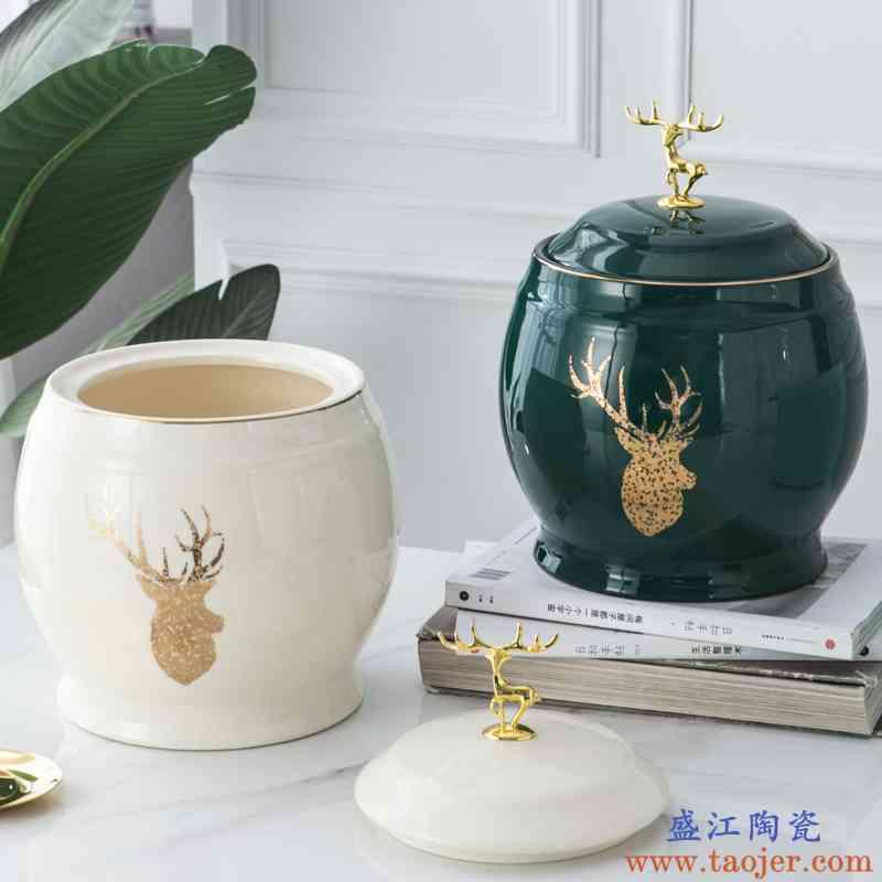 陶瓷带盖米缸防虫米桶厨房防潮储米箱五谷箱5kg10斤装家用储物罐