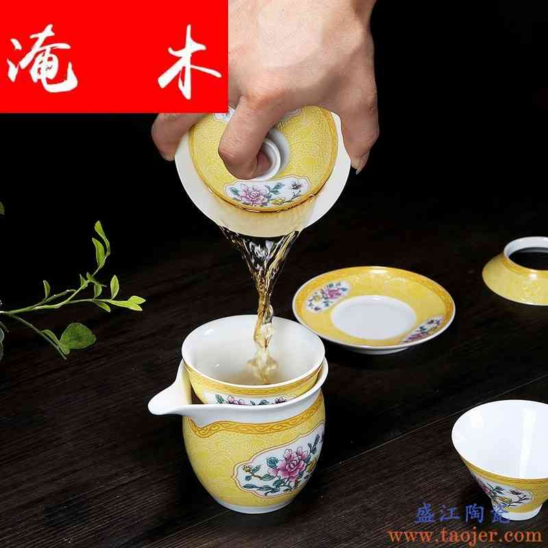 淹木扒花盖碗 大号景德镇陶瓷白瓷粉彩珐琅彩三才茶碗功夫茶具