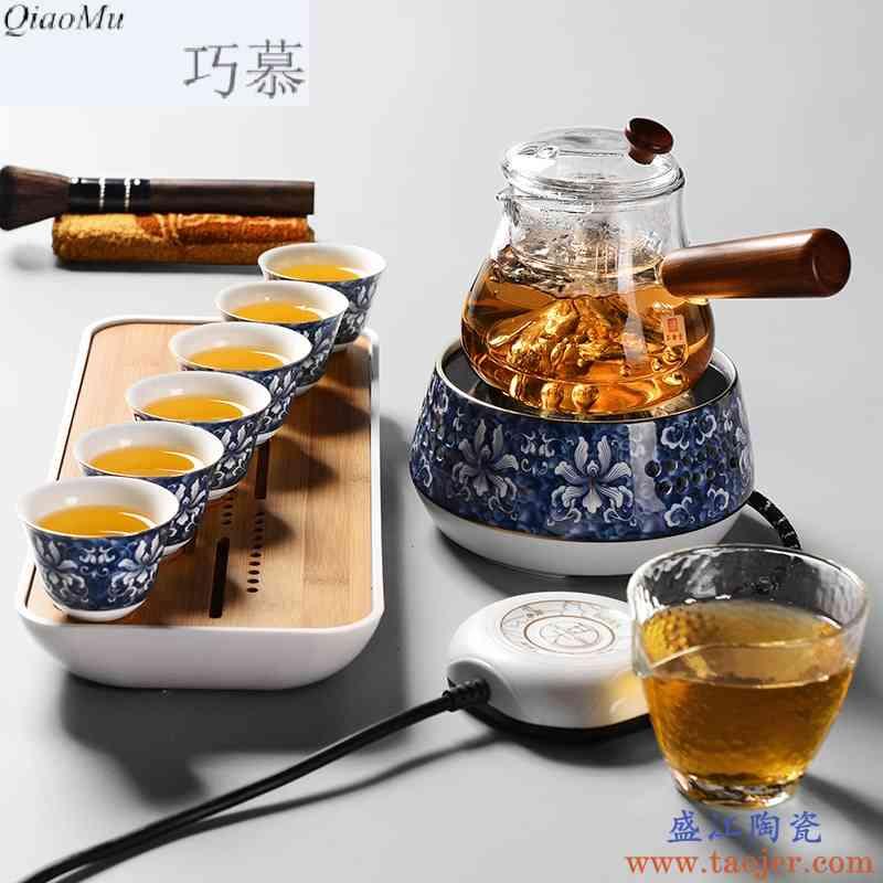 巧慕煮茶器耐热玻璃茶壶茶具套装蒸汽煮茶壶黑茶电热电陶炉家用