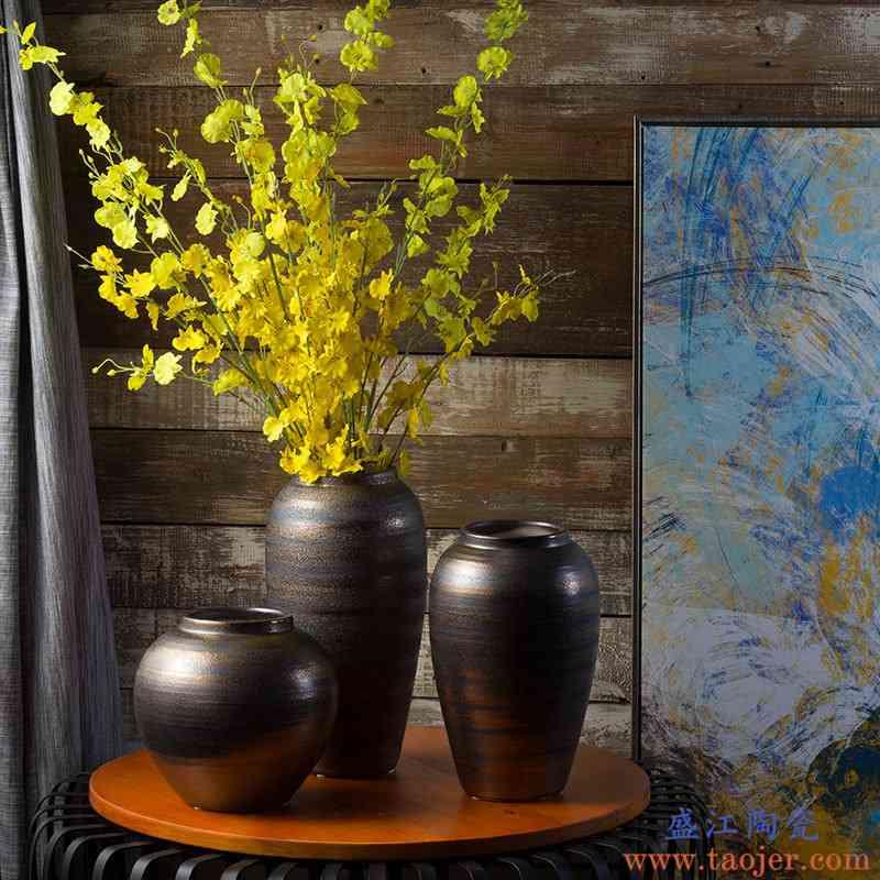 现代简约陶瓷插花花瓶欧式创意客厅复古干花器北欧家居装饰品摆件