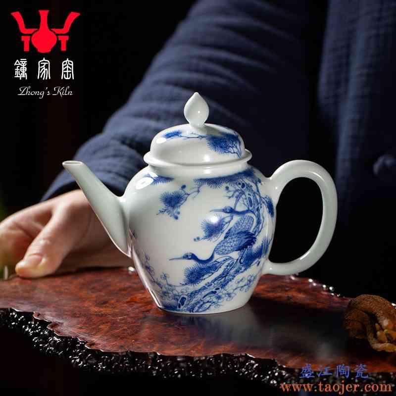 钟家窑茶壶景德镇青花柴窑陶瓷茶壶单壶功夫茶泡茶壶套装松鹤延年