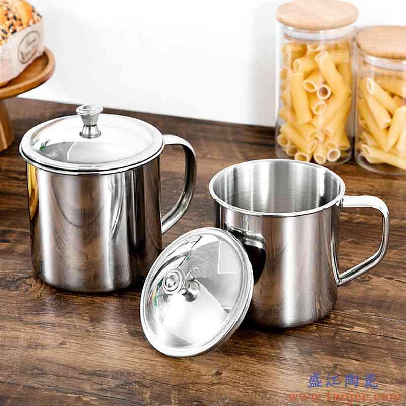 不锈钢茶杯口杯老式铁杯子搪瓷带盖大号喝水加厚家用儿童怀旧喝茶