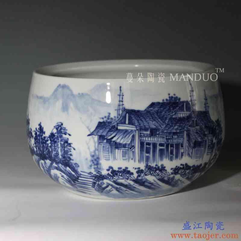 景德镇手绘青花山水笔洗 高档文化礼品 增值收藏文化笔洗陶瓷