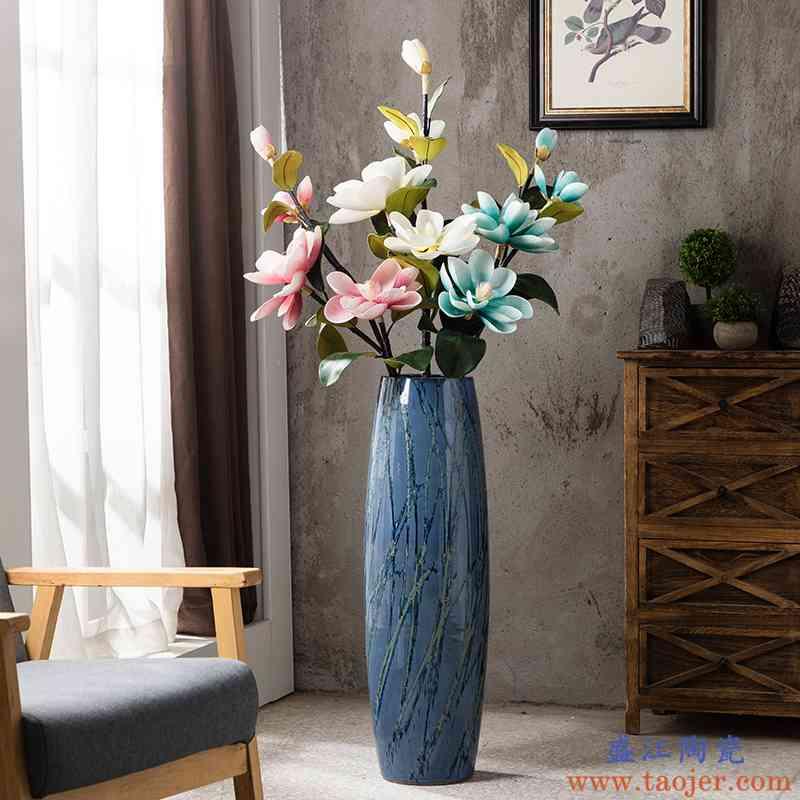 美式陶瓷落地花瓶大号客厅电视柜干花装饰插花瓶玄关复古创意摆件
