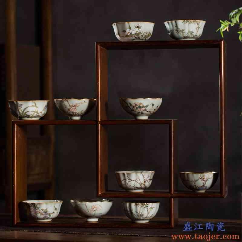 枭窑 景德镇手工手绘陶瓷茶具汝窑开片釉茶杯功夫茶主人品茗杯