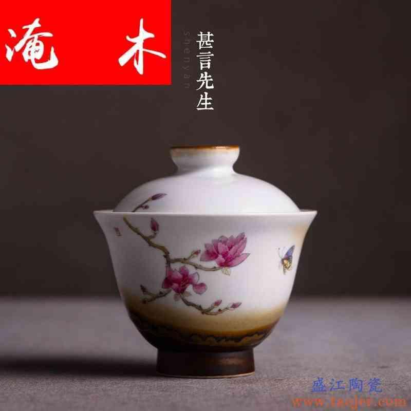 淹木景德镇手绘粉彩茶碗 盖碗茶具大号陶瓷茶杯 功夫三才碗杯泡茶