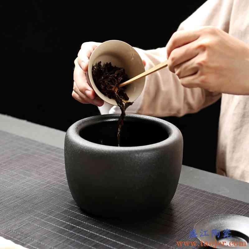 巧慕复古钵型杯洗建水黑陶功夫茶具茶渣缸粗陶水孟日式茶具茶道配