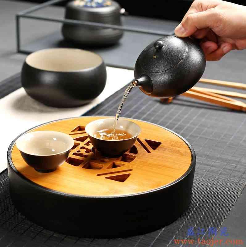 巧慕黑陶功夫茶具家用陶瓷竹制茶盘托盘茶台干泡盘圆形蓄水盘茶壶