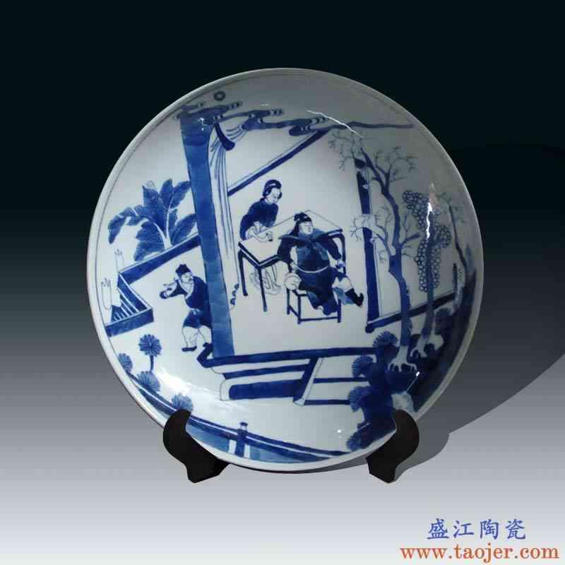 景德镇清代将军人物花瓶装饰瓷盘 景德镇手绘青花康熙将军瓷盘
