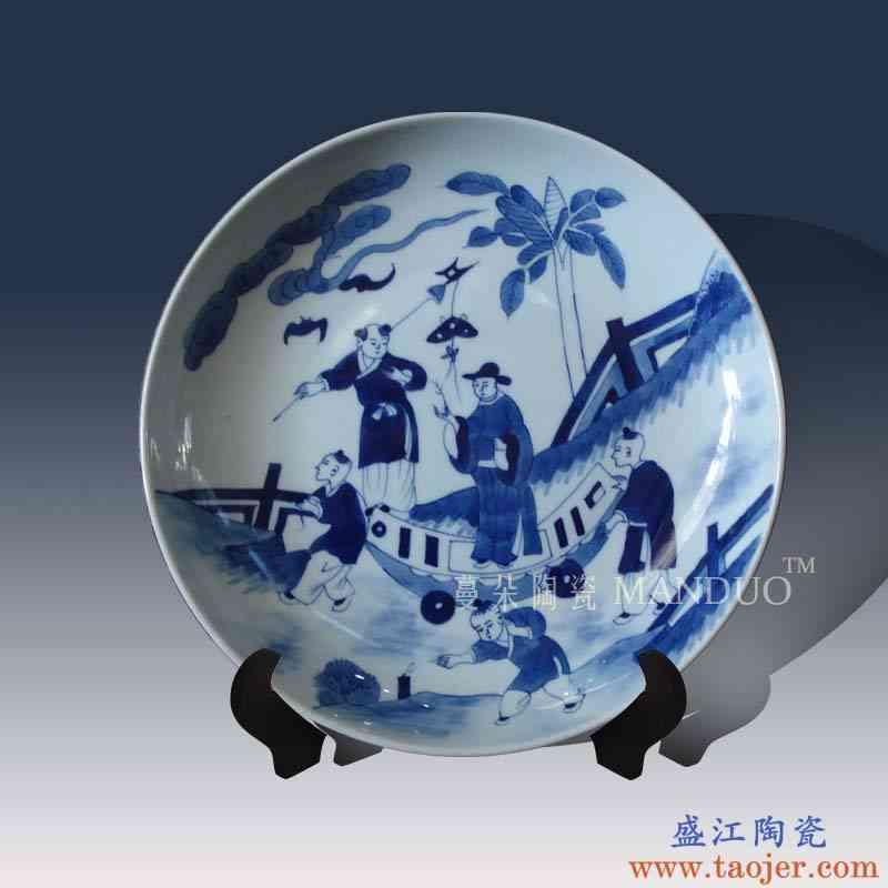 景德镇手绘青花康熙童趣高仕人物瓷盘摆件 清代经典瓷盘摆件