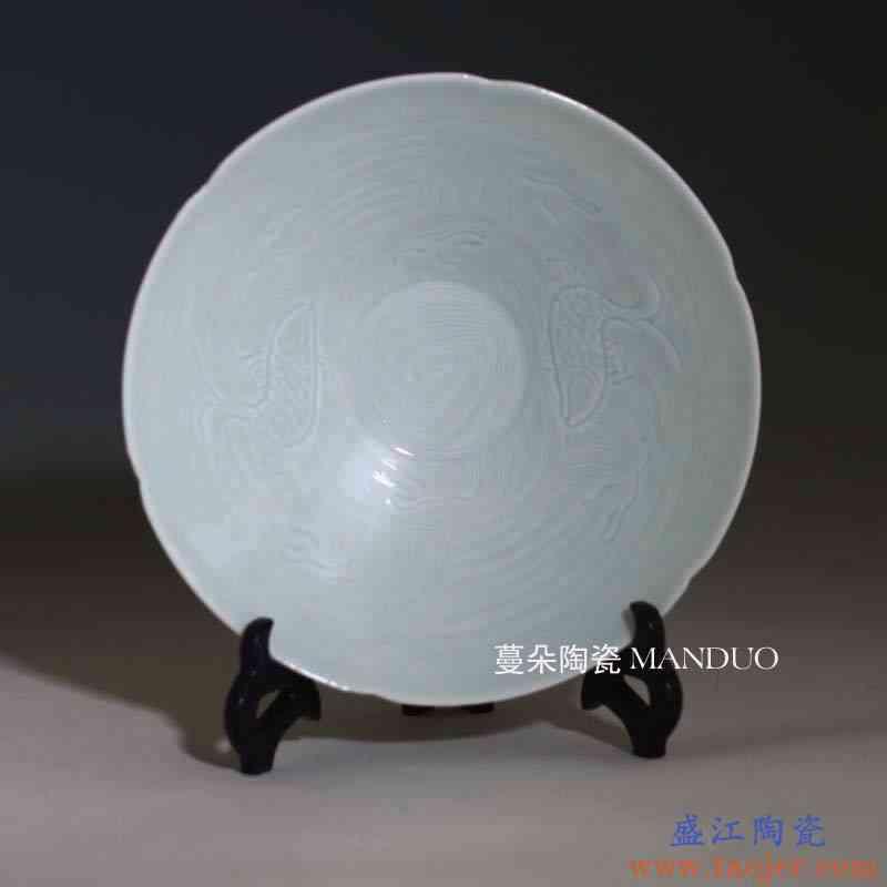 景德镇湖田窑影青刻花瓷器装饰盘碗 婴戏牡丹 一刀泥影青瓷器碗