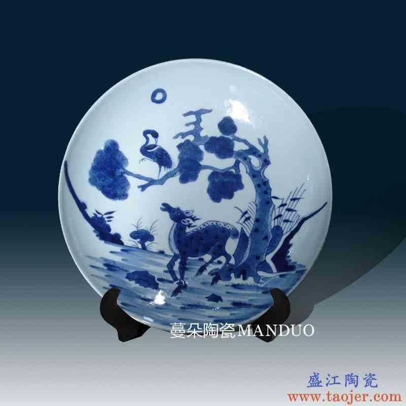 景德镇手绘双鹿青花瓷器瓷盘 清代康熙青花瓷器瓷盘 古典清代瓷盘