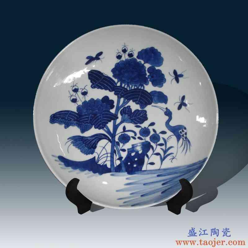景德镇手绘仿清代瓷器装饰瓷盘摆件 纯手绘仿清代康熙瓷器青花盘