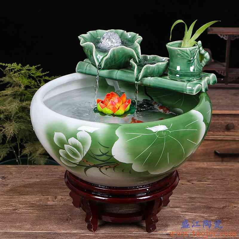 创意陶瓷金鱼缸客厅喷泉桌面流水摆件小型家用循环招财鱼缸养鱼盆